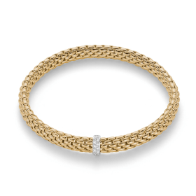 Fope 18ct Yellow Gold & Diamond Flex'it Vendome Bracelet