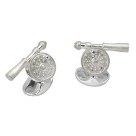 Silver Fly Fishing Reel Cufflinks