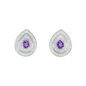 Pre-owned 18ct White Gold Amethyst & Diamond Earrings