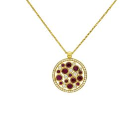 18ct Gold Ruby & Diamond Circular Pendant