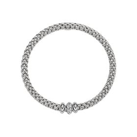 Fope 18ct White Gold & Diamond Flex'it Solo Bracelet
