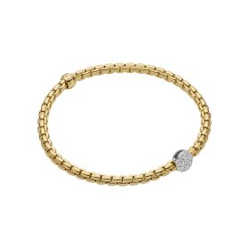 Fope 18ct Yellow & White Gold & Diamond Flex'it Eka Tiny Bracelet