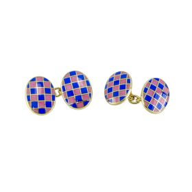 Gold Plated Silver & Enamel Chain Cufflinks