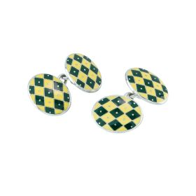 Silver & Enamel Diamond Pattern Chain Cufflinks