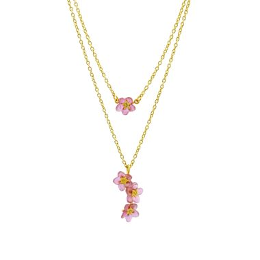 Michael Michaud Pink Forget Me Not Layered Necklace